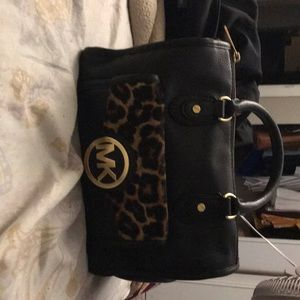 Michael Kors Black and Cheetah Bag